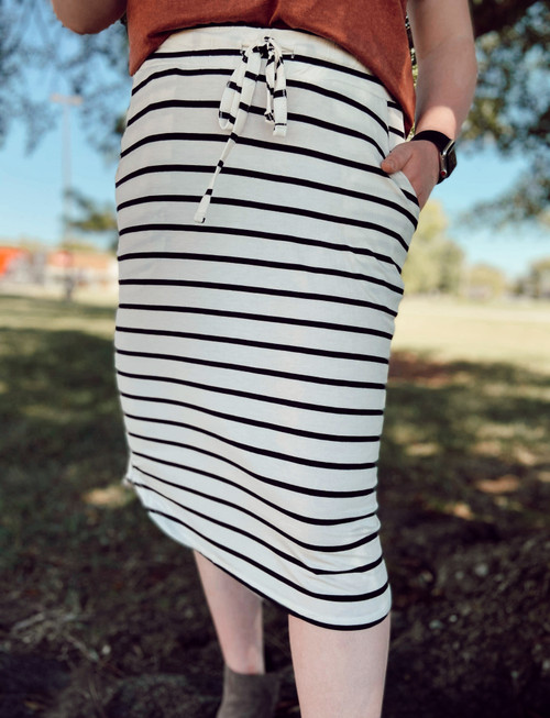 Amelia Drawstring Skirt *Ivory/Black Stripe*