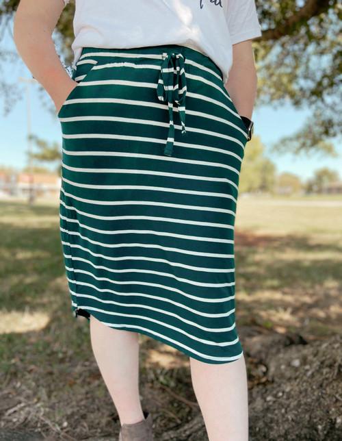 Amelia Drawstring Skirt *Hunter Green Stripe*