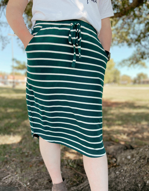 Amelia Drawstring Skirt *Hunter Green Stripe*
