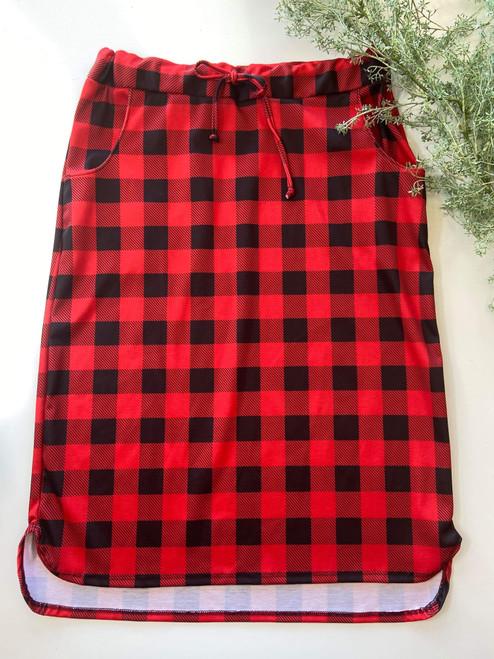 Klassy Girl Drawstring Skirt Red/Black Buffalo Plaid