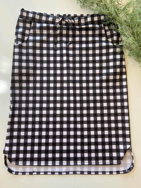 Klassy Girl Drawstring Skirt Black/White Small Check Plaid *Final Sale*