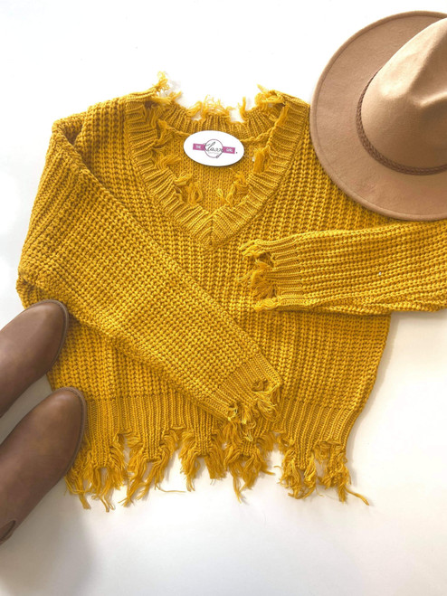 Aubrey Distressed Sweater *Mustard* FINAL SALE
