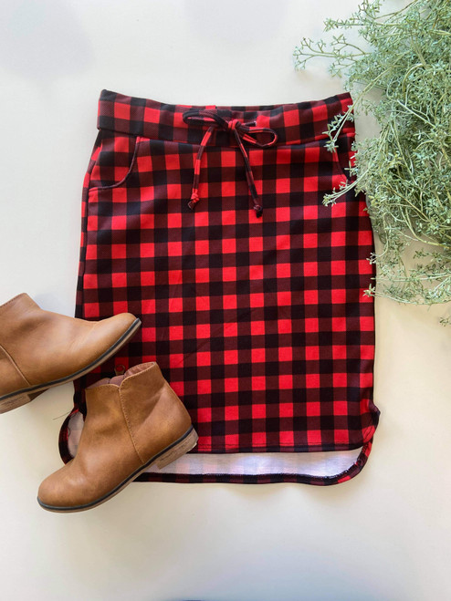 Klassy Little Girls Drawstring Skirt Red/Black Small Check Plaid