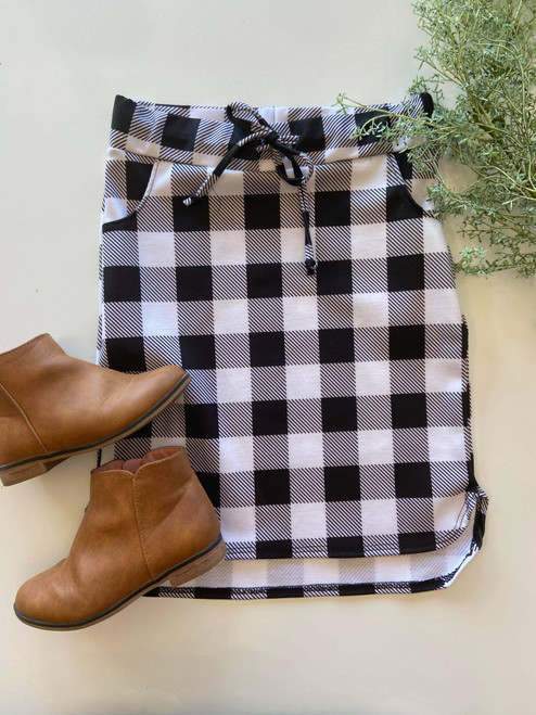 Klassy Little Girls Drawstring Skirt Black/White Buffalo Check Plaid