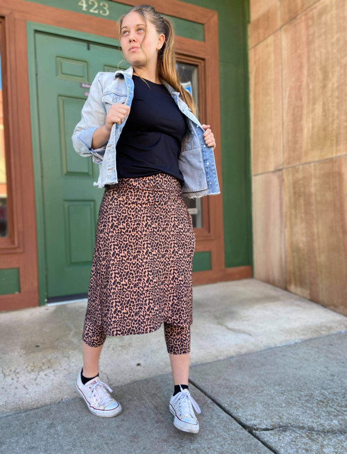 Wrapped Modest Athletic Skirt *Copper Leopard*
