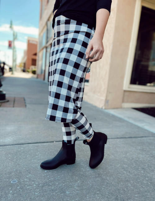 Athletic Skirt With Ankle Leggings *Black Buffalo Plaid*
