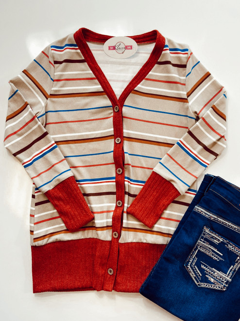 Perfect Stripe Button Cardigan