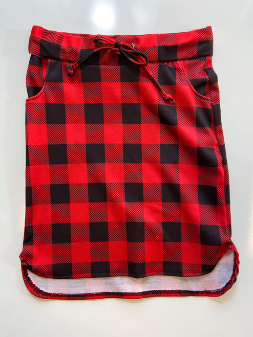 Klassy Little Girls Drawstring Skirt Black/Red Buffalo Check Plaid