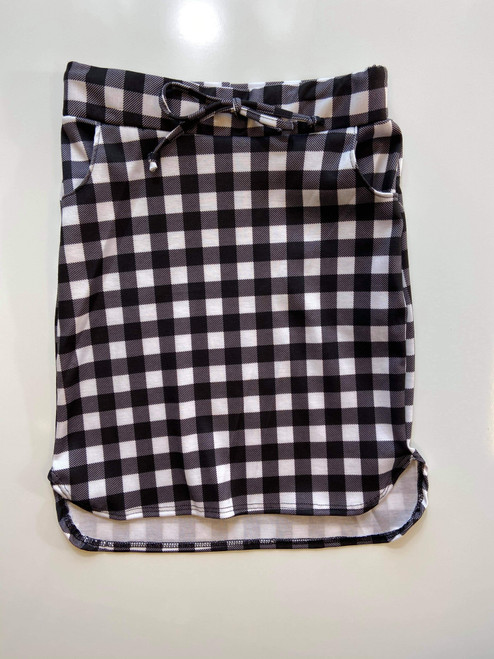 Klassy Little Girls Drawstring Skirt Black/White Small Check Plaid