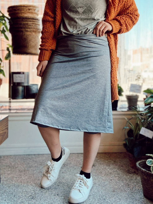 Modest Athletic Skirt With Leggings *Silver Fox*