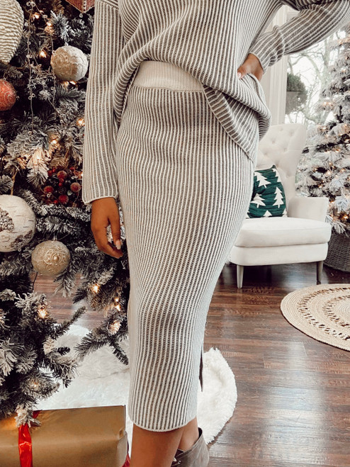 Snowy Days Sweater Skirt *Grey Stripe*