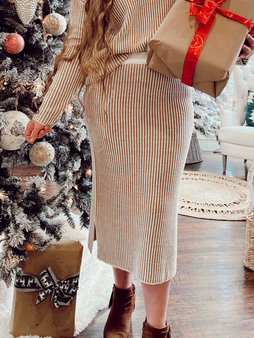 Snowy Days Sweater Skirt *Tan Stripe*