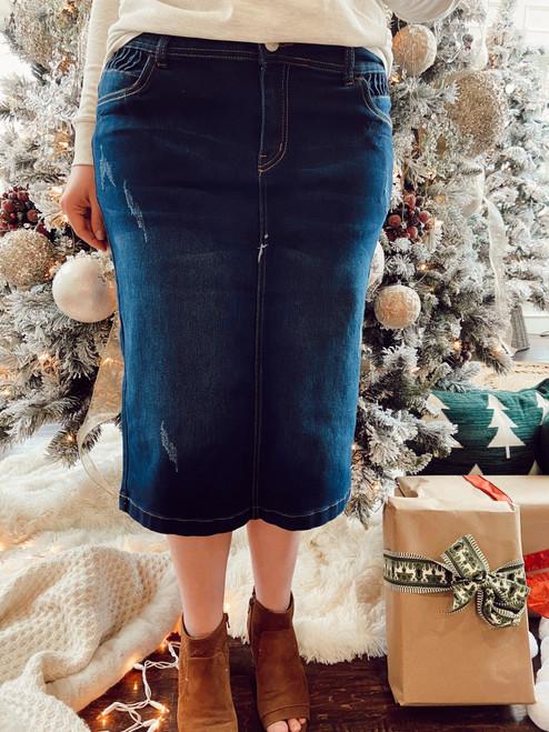 Kayla Pleated Detail Distressed Denim Skirt