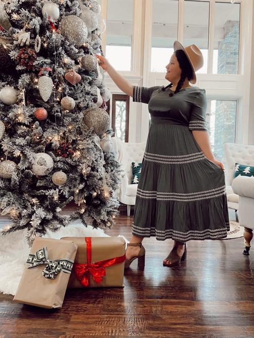 Laura Tiered Twirl Dress *Pine* FINAL SALE