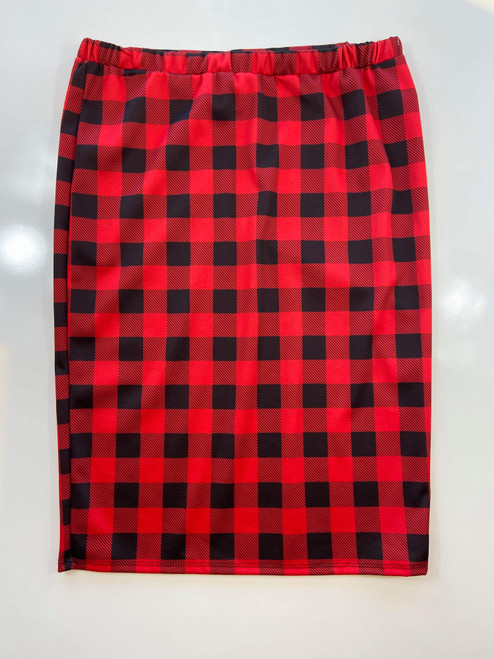 Klassy Girl Longer Length Pencil Skirt *Red Buffalo Plaid*