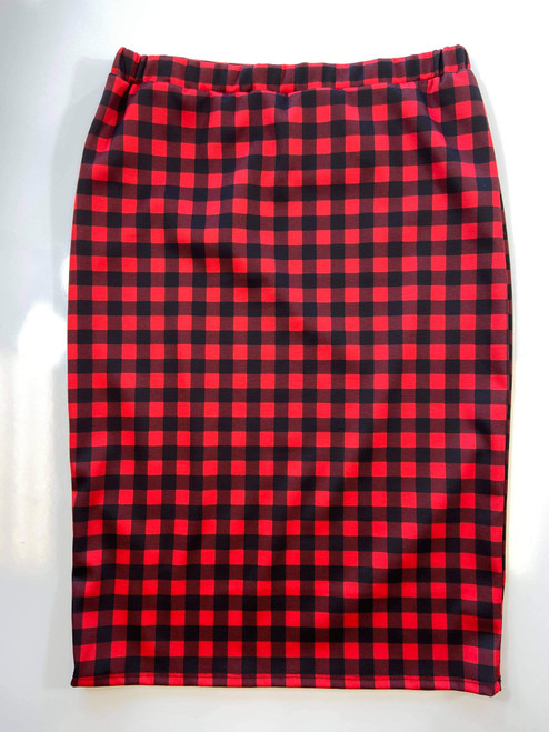 Klassy Girl Longer Length Pencil Skirt *Red/Black Small Check*