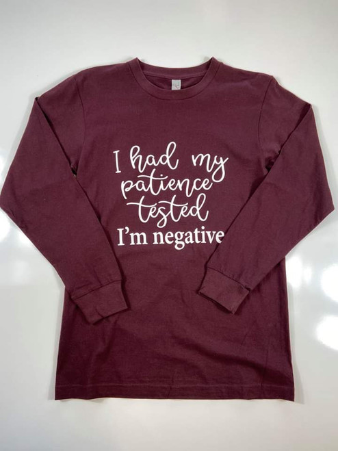 My Patience Is Negative Long Sleeve Graphic Tee