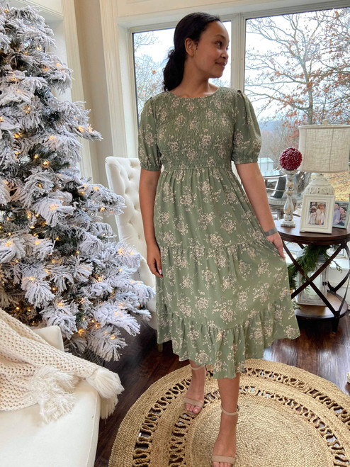 Charla Smocked Floral Dress *Sage* FINAL SALE