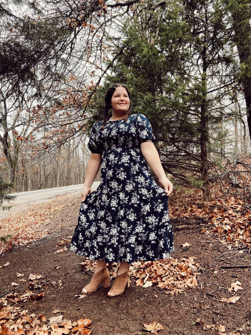 Charla Smocked Floral Dress *Navy* FINAL SALE