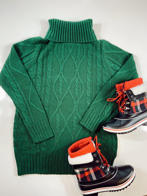 Cozy Cable Knit Turtleneck Sweater *Hunter*
