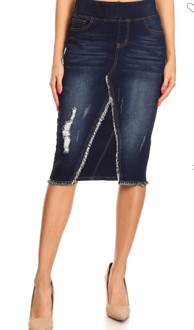 Nicole Elastic Waist Denim Skirt  *Dark Wash*
