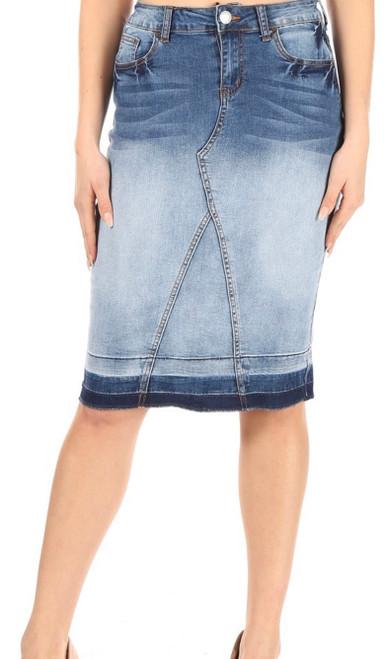 Monica Blue Blush Denim Skirt