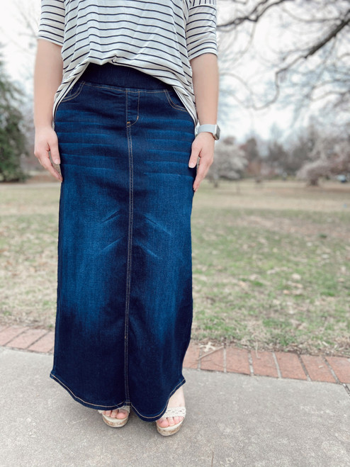 Morgan Elastic Waist Denim Skirt  *Dark Wash*