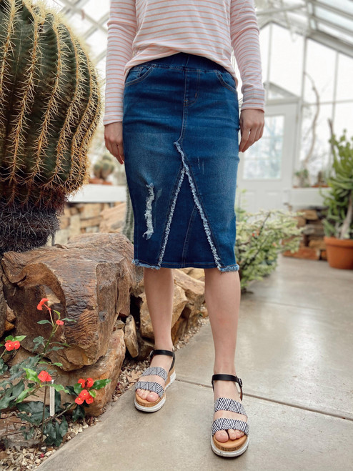 Nicole Elastic Waist Denim Skirt  *Vintage Wash*