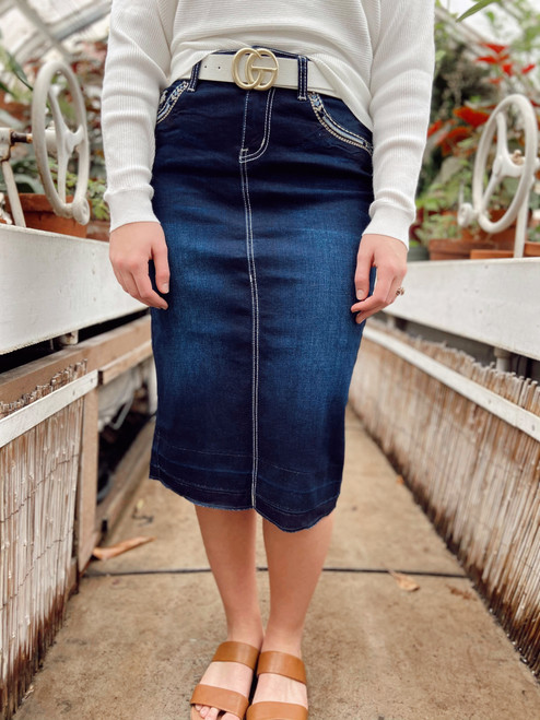 Lydia Embroidered Denim Skirt