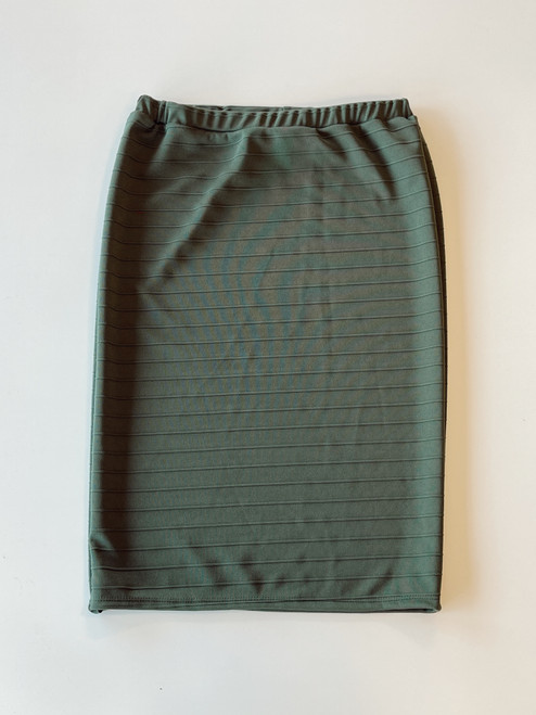 Klassy Girl Original Pencil Skirt Jacquard Stripe *Olive Green*