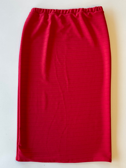 Klassy Girl Longer Length Pencil Skirt Jacquard Stripe *Red*