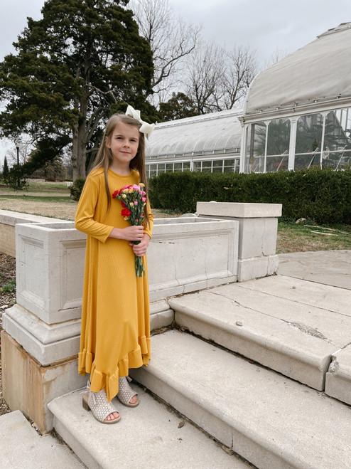 Willow Swing Dress Yellow Ribbed *Girls*