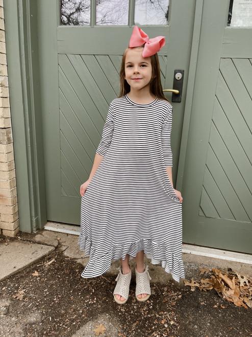 Willow Swing Dress White/Black Stripe *Girls*