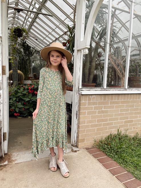 Willow Swing Dress Sage Green Floral *Girls*