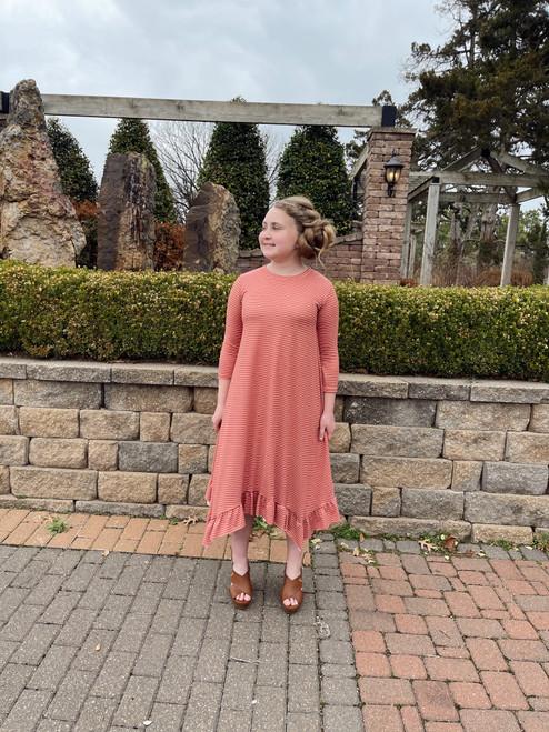 Willow Swing Dress Antique Mauve Stripe *Girls*