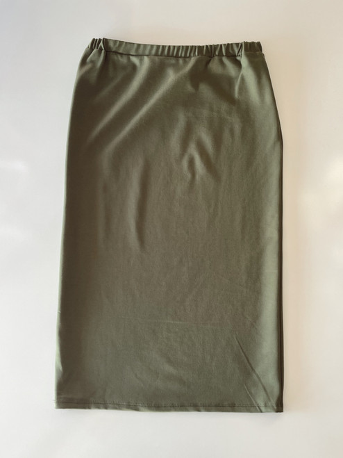 Klassy Girl Longer Length Pencil Skirt *Olive Ponte