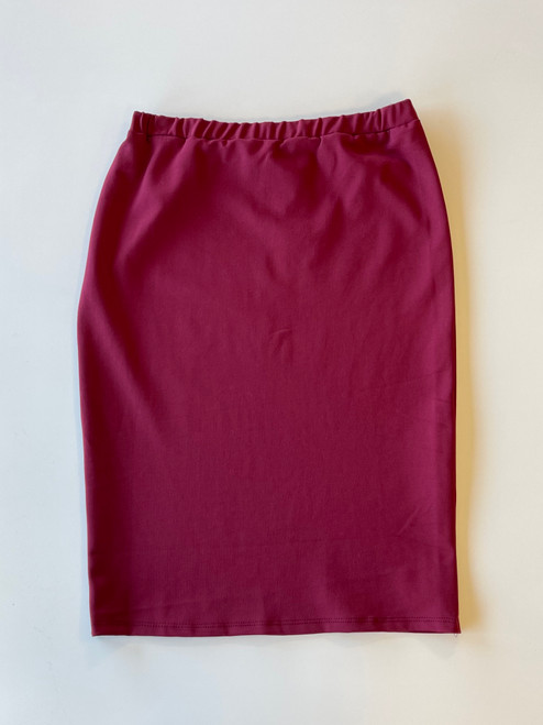Klassy Girl Longer Length Pencil Skirt *Burgundy Ponte*
