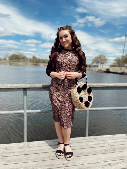 Modest Baseball Style Swim Dress Leopard