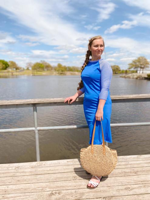 Modest Baseball Style Swim Dress Blue Stripe