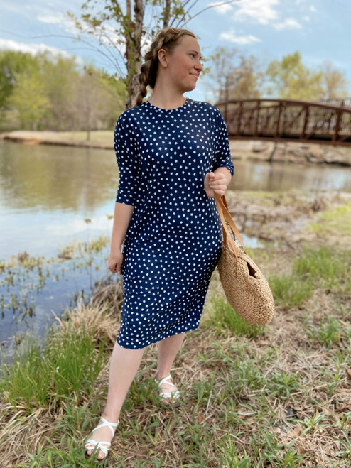 Modest Dolman Style Swim Dress Navy Star