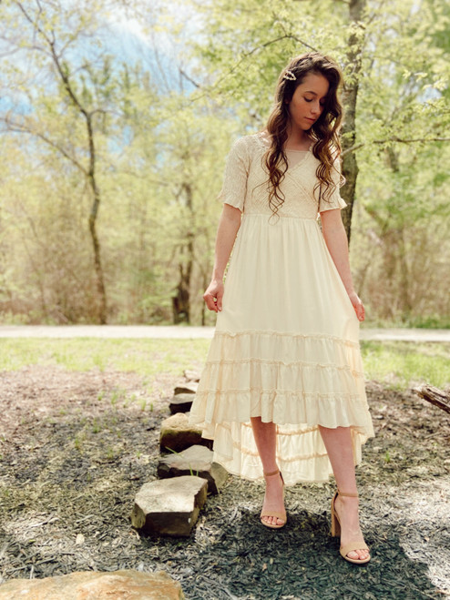 By the Boardwalk Cream Smocked Dress