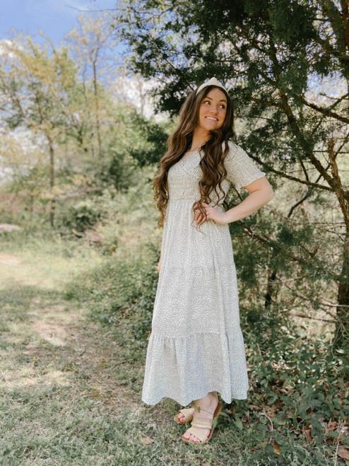 Sweetest Future Sage Floral Smocked Dress