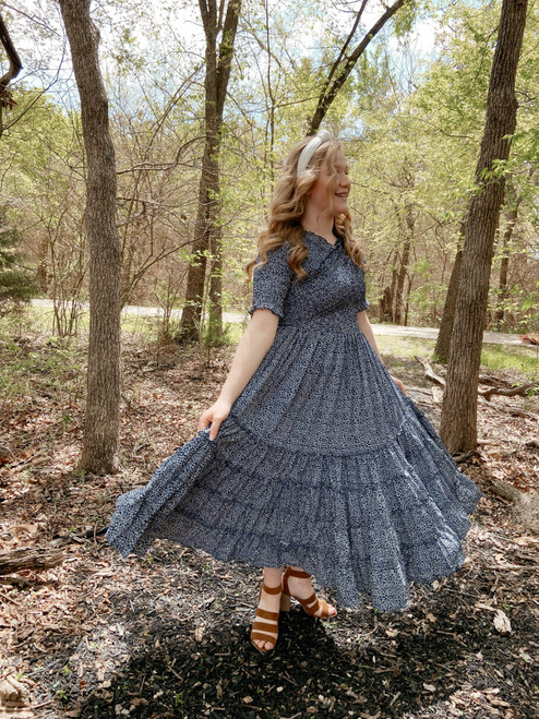 Eliza Floral Smocked Twirl Dress *Navy*