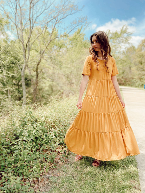 My Sunny Side Tiered Twirl Dress *Golden*