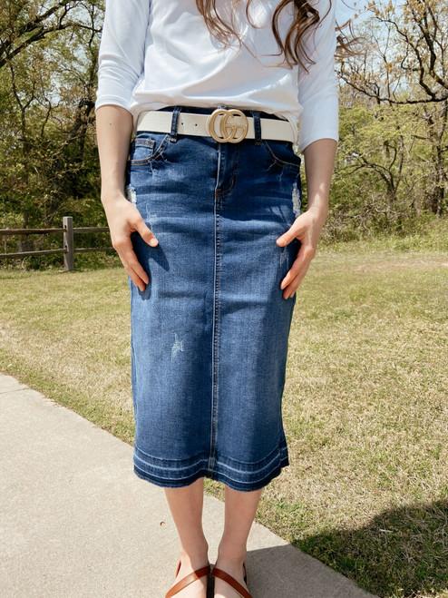 Kendra Distressed Denim Skirt *Indigo Wash*