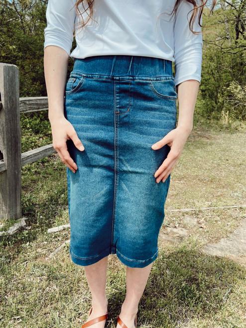 Avery Elastic Waist Denim Skirt  *Vintage*