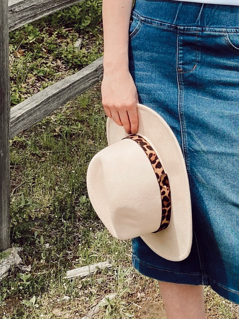 Boutique Felt Hat Leopard/Beige