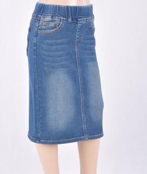 Cassie *Girls* Modest Denim Skirt *Vintage Wash*