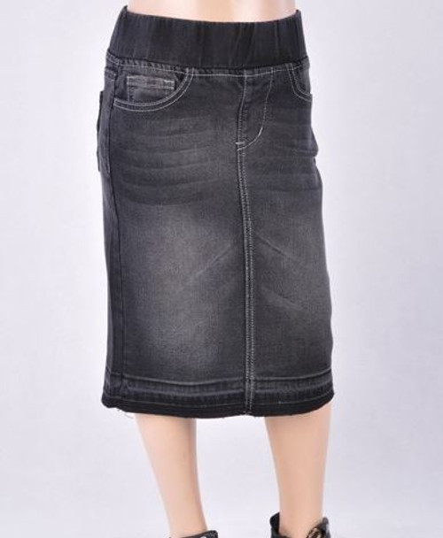 Cassie *Girls* Modest Denim Skirt *Vintage Black*