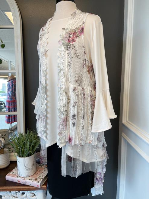 White Floral Lace Vest